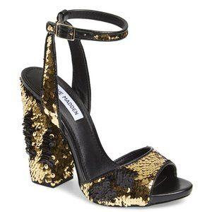 Steve Madden Ritzy Sequin Block Heel Sandals 7